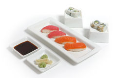 Sushi Dinner. Sushi arranged on a clean white background Stock Images