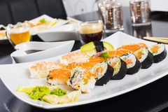 Sushi Dinner. With seaweed salad and wasabi stock photography