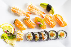 Sushi Dinner. With seaweed salad and wasabi stock images