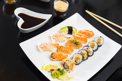 Sushi Dinner. With seaweed salad and wasabi stock image