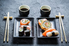 Sushi dinner for two people Stock Images