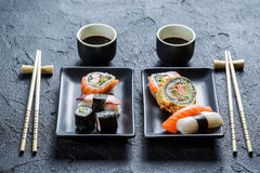 Sushi dinner for two people Royalty Free Stock Photos