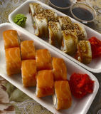 Sushi dish. With rice and cheese, packaged Royalty Free Stock Photo