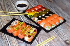 Sushi is a dish of traditional Japanese cuisine, Royalty Free Stock Image