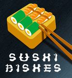 Sushi Dishes Means Raw Fish 3d Illustration. Sushi Dishes Assortment Means Raw Fish 3d Illustration Royalty Free Stock Photo