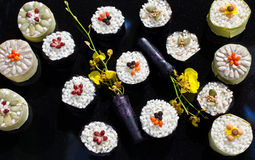 Sushi display. In wisley garden expo stock photo