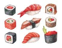 Sushi délicieux. Illustrations de Watercollor Photos stock