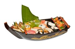 Sushi do barco Fotografia de Stock Royalty Free