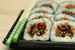 Sushi do cogumelo de Shiitake fotografia de stock