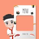 Sushi do menu do cozinheiro chefe de Japão delicioso muitos estilo ilustração do vetor