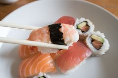 Sushi do nigiri do camarão Imagem de Stock Royalty Free