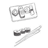 Sushi, doodle, sketch Royalty Free Stock Images