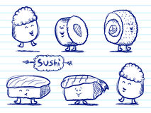 Sushi Doodles. Cartoon sushi characters in a hand drawn style Stock Photo