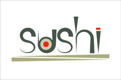 Sushi e bastoncini verdi di parola Immagine Stock Libera da Diritti
