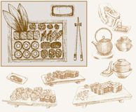 Sushi e rolos ilustração royalty free