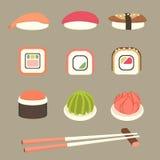 Sushi e rolos ajustados ilustração stock