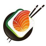 Sushi e rolos com hashis ilustração do vetor