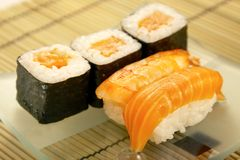 Sushi e rulli Immagine Stock Libera da Diritti