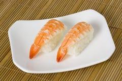 Sushi - Ebi Nigiri. Japanese food - Ebi nigiri on a plate Royalty Free Stock Image