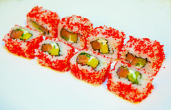 Sushi with eel, flying fish roe Stock Photo