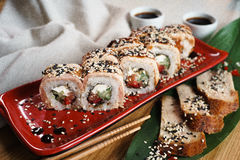 Sushi eel roll maki stock images