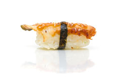 Eel sushi. Isolated over white. Royalty Free Stock Photo