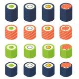 Sushi in een vlakke stijl van traditionele Japanse keuken worden geplaatst die Royalty-vrije Stock Foto's