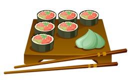 Sushi eingestellt auf einen Behälter mit Essstäbchen Stockbild