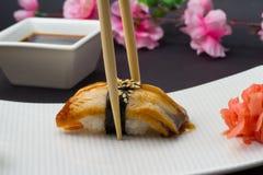 Sushi ell unagi nigiri. Sushi nigiri with eel unagi soy sauce ang many other Stock Photo