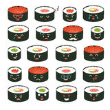 Sushi emoji vector set. Emoji sushi with faces icons. Sushi roll funny stickers Royalty Free Stock Photo