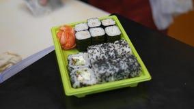 Sushi en broodjes cooking stock footage