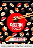 Sushi en broodjes, het Japanse restaurant van de keukenbar royalty-vrije illustratie