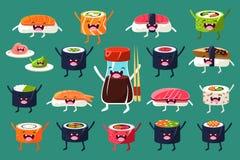 Sushi en broodjeskarakterskasseisteen, Japaneset-voedsel met grappige gezichten vectorillustraties Royalty-vrije Stock Foto