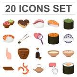 Sushi en kruidenbeeldverhaalpictogrammen in vastgestelde inzameling voor ontwerp Zeevruchtenvoedsel, het bijkomende vectorweb van stock illustratie