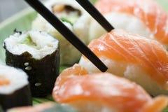 Sushi en maki Royalty-vrije Stock Afbeeldingen