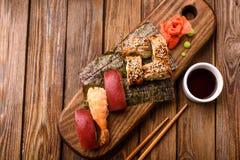 sushi en nigiri Royalty-vrije Stock Afbeeldingen