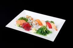 Sushi en sashimi met groente Stock Fotografie