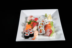 Sushi en sashimi met wasabi Royalty-vrije Stock Afbeeldingen