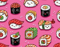 Sushi en sashimi naadloos patroon in kawaiistijl Vector illustratie Royalty-vrije Stock Afbeelding