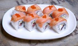Sushi en una placa Fotografía de archivo