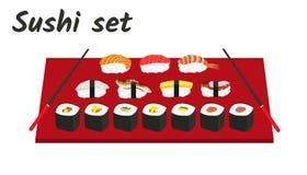 Sushi et petits pains réglés avec des baguettes illustration libre de droits
