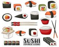 Sushi et petits pains réglés Concept japonais de cuisine Icônes et objets pour le menu ou la publicité asiatique de restaurant Images stock