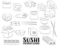 Sushi et petits pains réglés Concept japonais de cuisine Menu ou publicité asiatique de restaurant Coloration noire et blanche d' Images stock