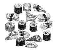 Sushi et rouleaux d'illustration tirée par la main Images stock
