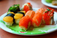 Sushi et roulis Image libre de droits