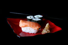 sushi för bild för djupfält höga Arkivbilder