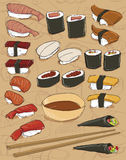 sushi för rice för bakgrundspinnenori Arkivbild