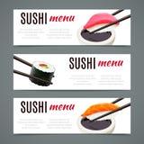 Sushi-Fahnen horizontal stock abbildung