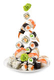 Sushi falling in the plate Stock Photo