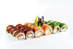 Sushi fijado en el fondo blanco Imagen de archivo